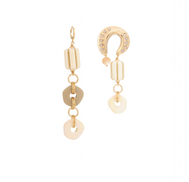 Asymmetrical earrings mix lucky longue / fer à cheval