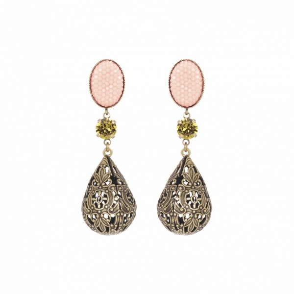 Baroque earrings bronze