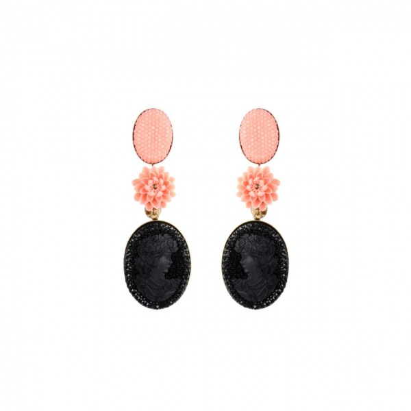 Diva big Camée Noir earrings