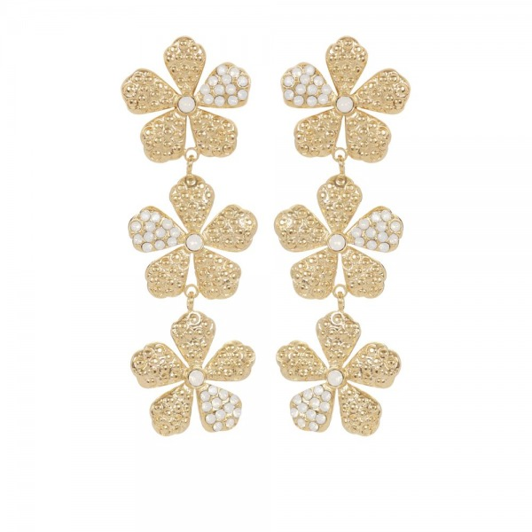 Marguerite Earrings with 3 Flowers